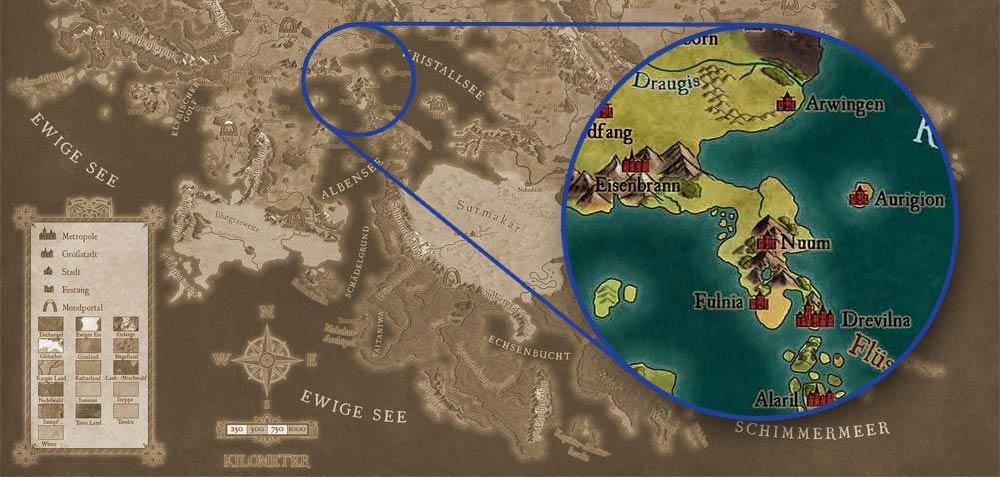 Splittermond Lorakis Karte Mertalia Uhrwerk Verlag Roman Fantasy